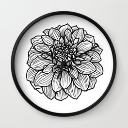 Dahlia in black and white Wall Clock