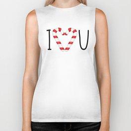 I Love You - Candy Canes Heart Biker Tank