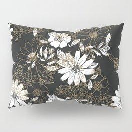 Modern black white faux gold elegant floral Pillow Sham