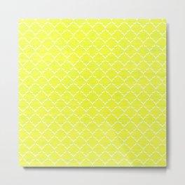 Moroccan Yellow Tiled Pattern Metal Print