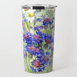 Meadow watercolor flowers with cornflowers Travel Mug