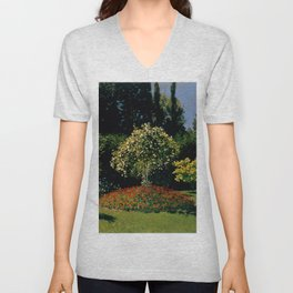 "Claude Monet ""Woman in garden (Femme au jardin)"" Unisex V-Neck"