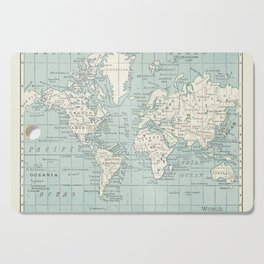 World Map in Blue and Cream Cutting Board