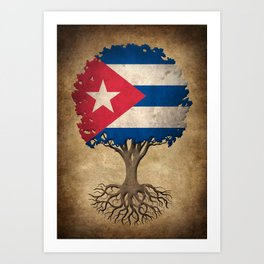 Vintage Tree of Life with Flag of Cuba Art Print