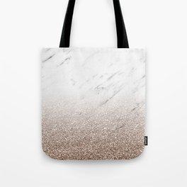 Glitter ombre - white marble & rose gold glitter Tote Bag