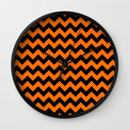 Large Dark Pumpkin Orange and Black Halloween Chevron Stripes Wall Clock