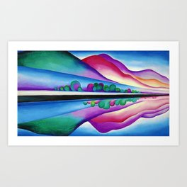 Lake George Reflection landscape painting by Georgia O'Keeffe Art Print