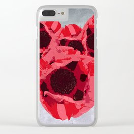 In memoriam - Heart of poppies Clear iPhone Case