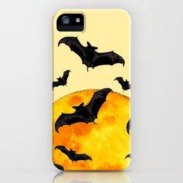 BLACK FLYING BATS FULL MOON ART iPhone Case