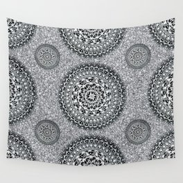 Silver Sparkle and Hand-Drawn Metallic Mandala Textile Wall Tapestry