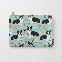 Welsh Corgi tri colored coffee lover dog gifts for corgis cafe latte pupuccino Carry-All Pouch
