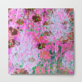Thistles Pink Metal Print
