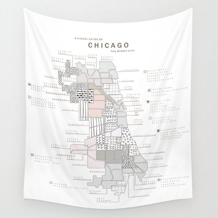 Chicago Neighborhoods Map Wall Tapestry By Maryrich Society - Chicago neighborhood map art
