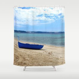 Blue boat in Greece Shower Curtain