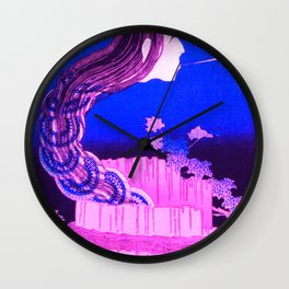 The Plate Mansion - Remixed in Pink and Purple Wall Clock