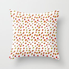 Hand drawn red orange green watercolor leaves pattern Throw Pillow