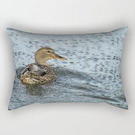 Mallard in the Rain Rectangular Pillow