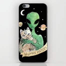 aliens and cats are human haters iPhone Skin