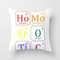 erotic Throw Pillows featuring HOMO EROTIC  by SLANTEDmind.com