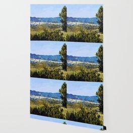 Calabria landscape with Catanzaro city and Sila mountain Wallpaper