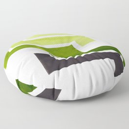 Sap Green Pattern Mid-century Modern Simple Geometric Pattern Watercolor Minimalist Art Squares Floor Pillow