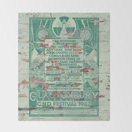 Distressed Glastonbury 1982 Poster Throw Blanket