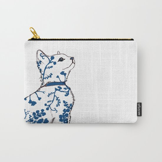 Floral Kitten Carry-All Pouch