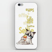 french fries iPhone & iPod Skins featuring Selfie with French Fries by stylishbunny