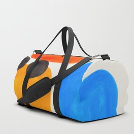 Minimalist Modern Mid Century Colorful Abstract Shapes Primary Colors Yellow Orange Blue Bubbles Duffle Bag