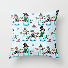 Christmas Snowmen in Blue Throw Pillow