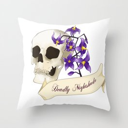 Deadly, Sweet and Toxic - Deadly Nightshade Throw Pillow
