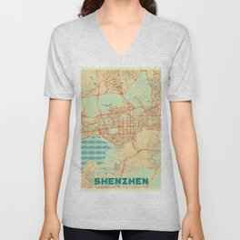 Shenzhen Map Retro Unisex V-Neck