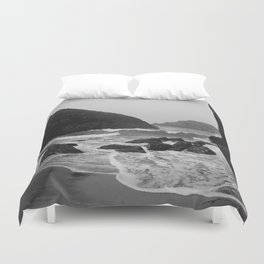Kynance Cove in Black and White Duvet Cover