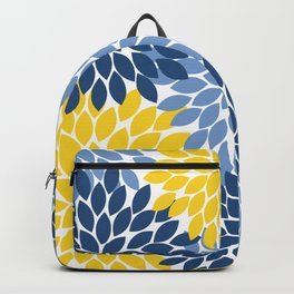 Blue Yellow Flower Burst Floral Pattern Backpack