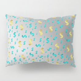 gold,blue silver metal dollar Pillow Sham