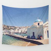 greece Wall Tapestries featuring Hello, Greece by ZBOY