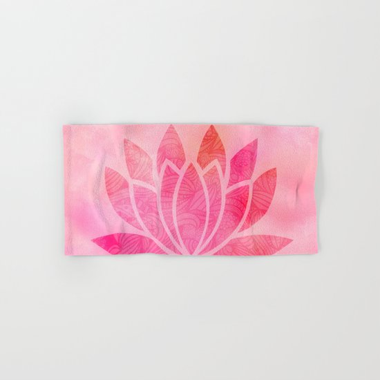 Watercolor Lotus Flower Yoga Zen Meditation Hand & Bath Towel