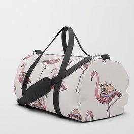 Flamingo and French Bulldog Duffle Bag