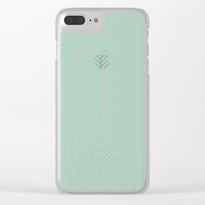 Herringbone Mint Inverse Clear iPhone Case