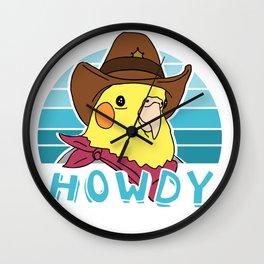 Aesthetic howdy cockatiel doodle Wall Clock