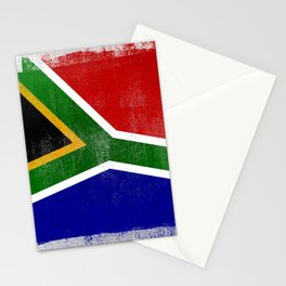 South African Distressed Halftone Denim Flag Stationery Cards