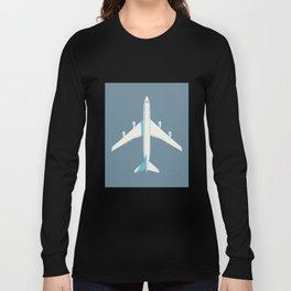 747-400 Jumbo Jet Airliner Aircraft - Slate Long Sleeve T-shirt