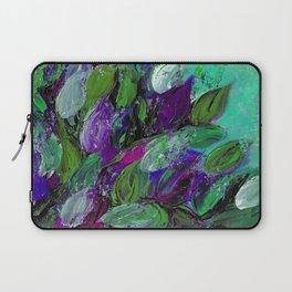 BLOOMING BEAUTIFUL 1 - Floral Painting Mint Green Seafoam Purple White Leaves Petals Summer Flowers Laptop Sleeve