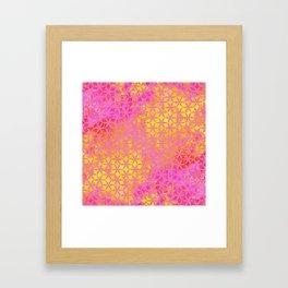 Flower of Life Paint Pattern Pink Gold Framed Art Print