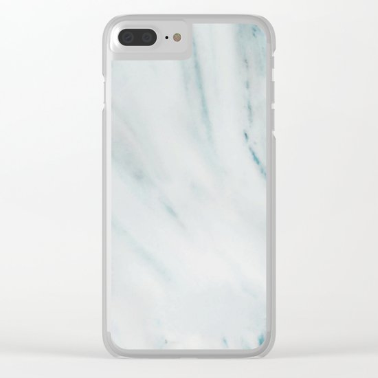 Teal Streaked Marble Clear iPhone Case