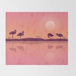 Flamingos on Riverbank Throw Blanket