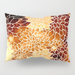 Space Dahlias Golden Bronze Pillow Sham