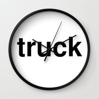 truck Wall Clocks featuring truck by linguistic94