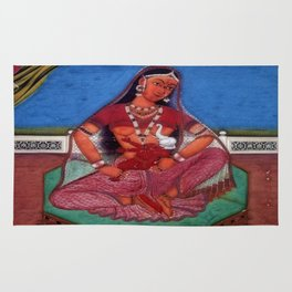 Deity Parvati With Her Son Ganesha Rug