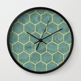 Gold Geometric Pattern Sage Marble Design Wall Clock